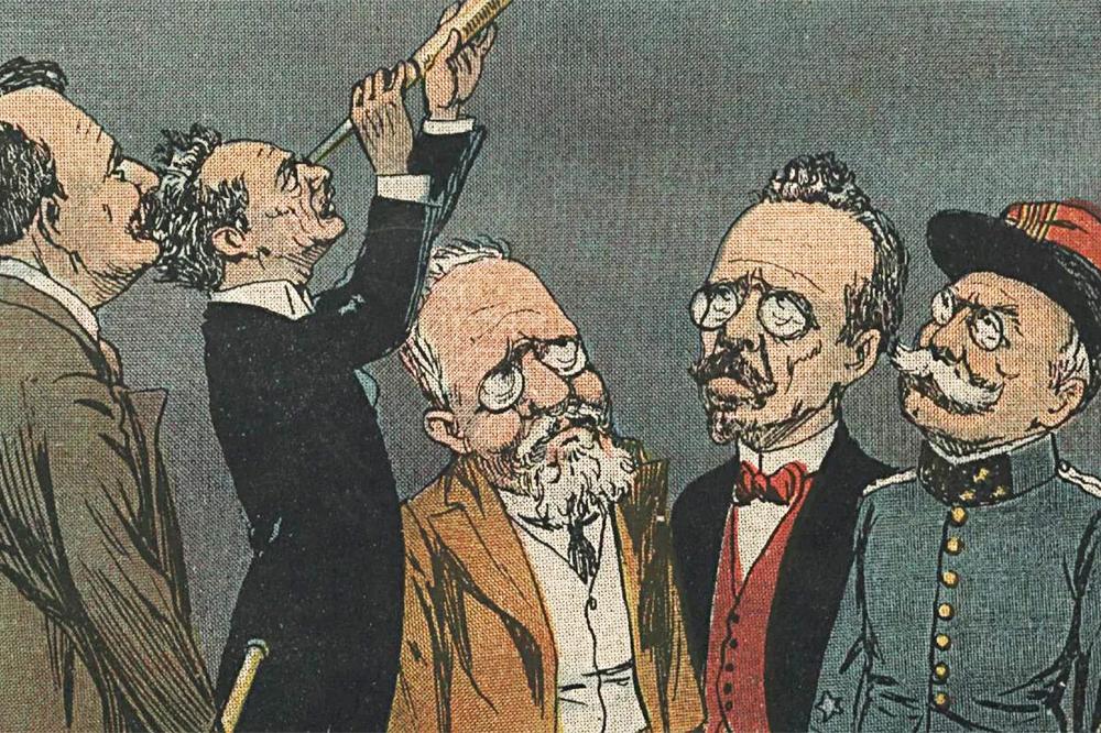 ilustração das lideranças políticas observando o astro que está por vir: o candidato á presidência da república.