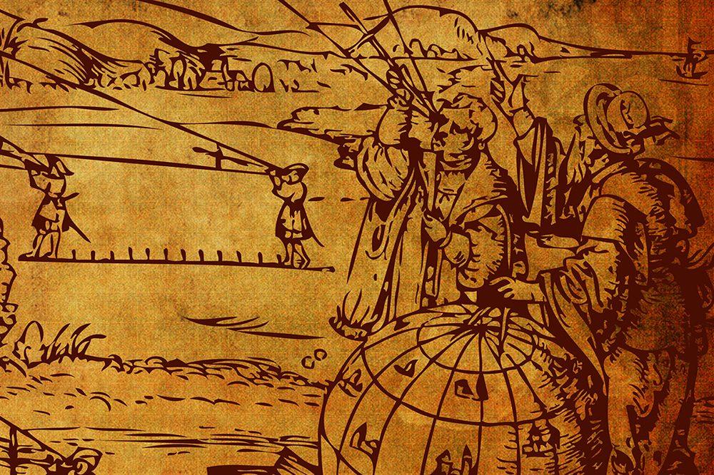 Ilustração representando antigos astrônomos na exposição Olhar o Céu, Medir a terra